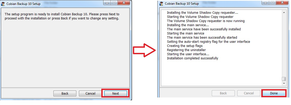 Install and setting Cobian Backup 10